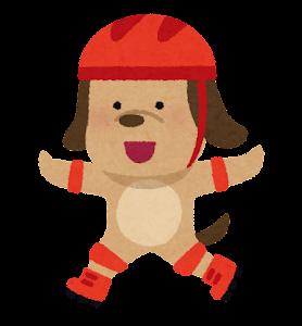 ローラースケートに乗る動物のキャラクター(犬)