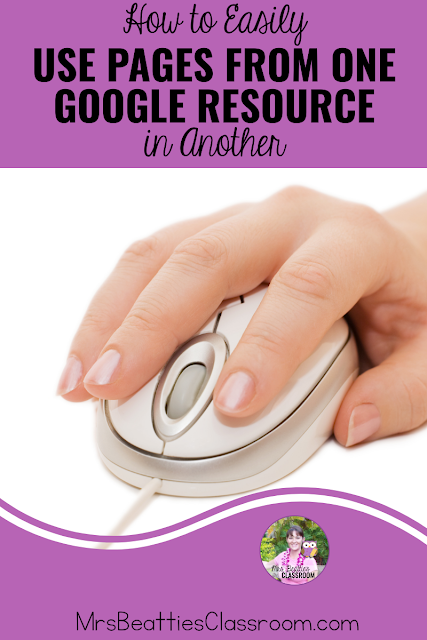 "Hand on computer mouse with text, ""How to Easily Use Pages From One Google Resource In Another"""