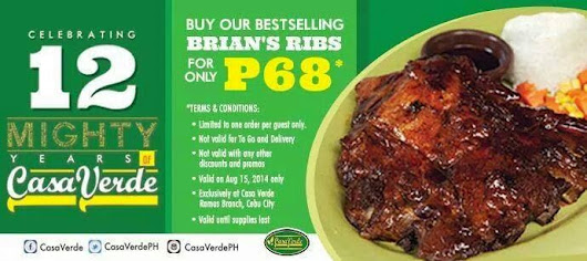 FoodaBest: Casa Verde Cebu offers Brian's Ribs for Php 68 only on its 12th year anniversary