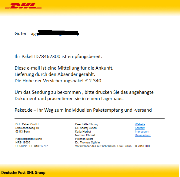 phishing mail alerts dhl paket angekommen. Black Bedroom Furniture Sets. Home Design Ideas