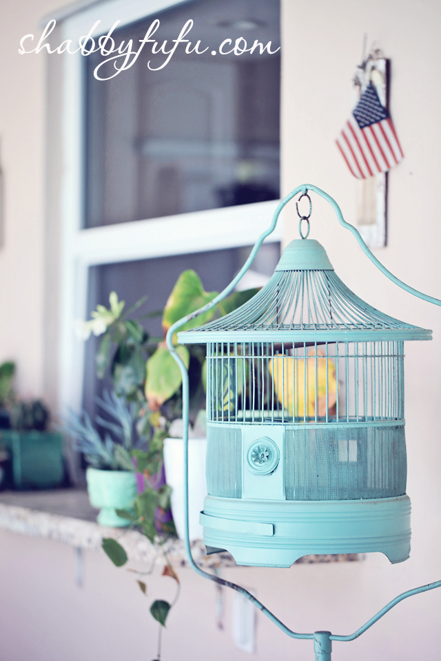 aqua birdcage