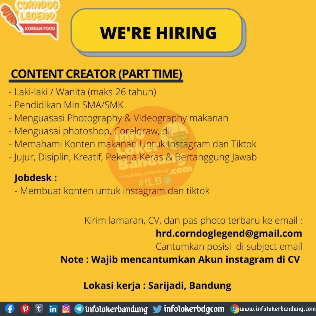 Lowongan Kerja Corndog Legend ( Korean Food ) Bandung November 2020