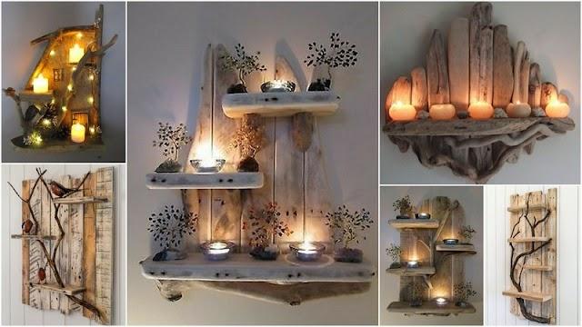 DIY Ξύλινες διακοσμητικές Ραφιέρες