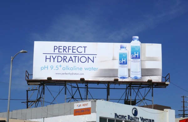 Perfect hydration pH 95 alkaline water billboard