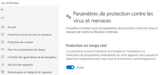 Windows 10 Paramétrage protection temps réel