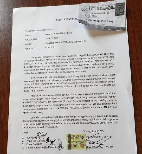 Serampangan Tuduh Brigjen TNI Subagyo Curi HP, Perwira Polisi Minta Maaf