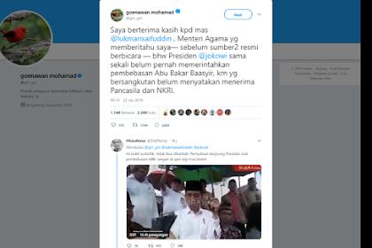 Video Jokowi Bantah Cuitan Goenawan Mohamad Tentang Pembebasan Ust. Ba'asyir
