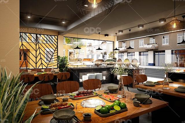 Thiet ke nha hang phong cach Thai Bangkok BBQ 27 Tạo điểm nhấn trong thiết kế nhà hàng tại TP.HCM