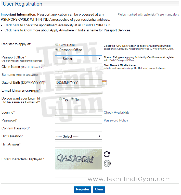 Account Registration on Passport India Official Website Applying for Police Clearance Certificate