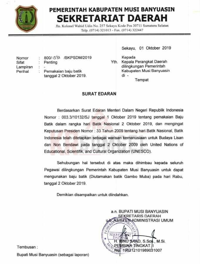 Hari Batik Nasional Esok Asn Muba Pakai Batik Gambo