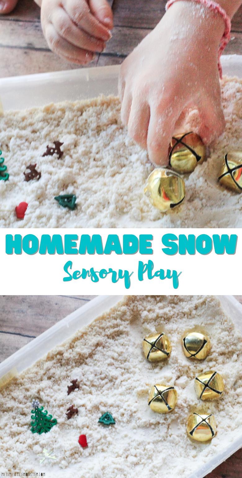 Homemade snow recipe for snow sensory play. 2 ingredient play snow for winter sensory bin.