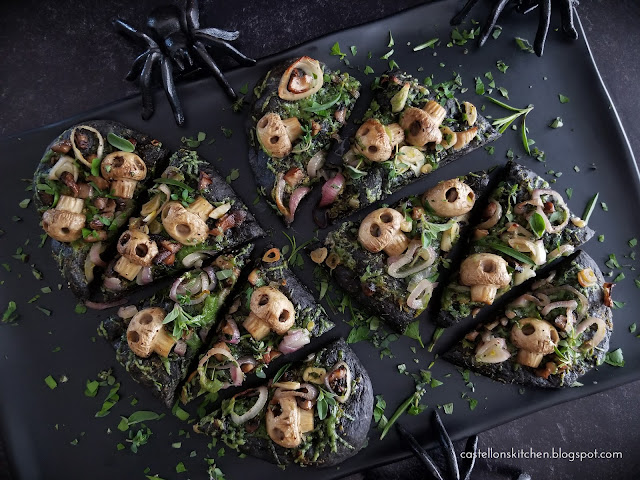 Squid Ink Flatbread with Mushroom Skulls for Halloween