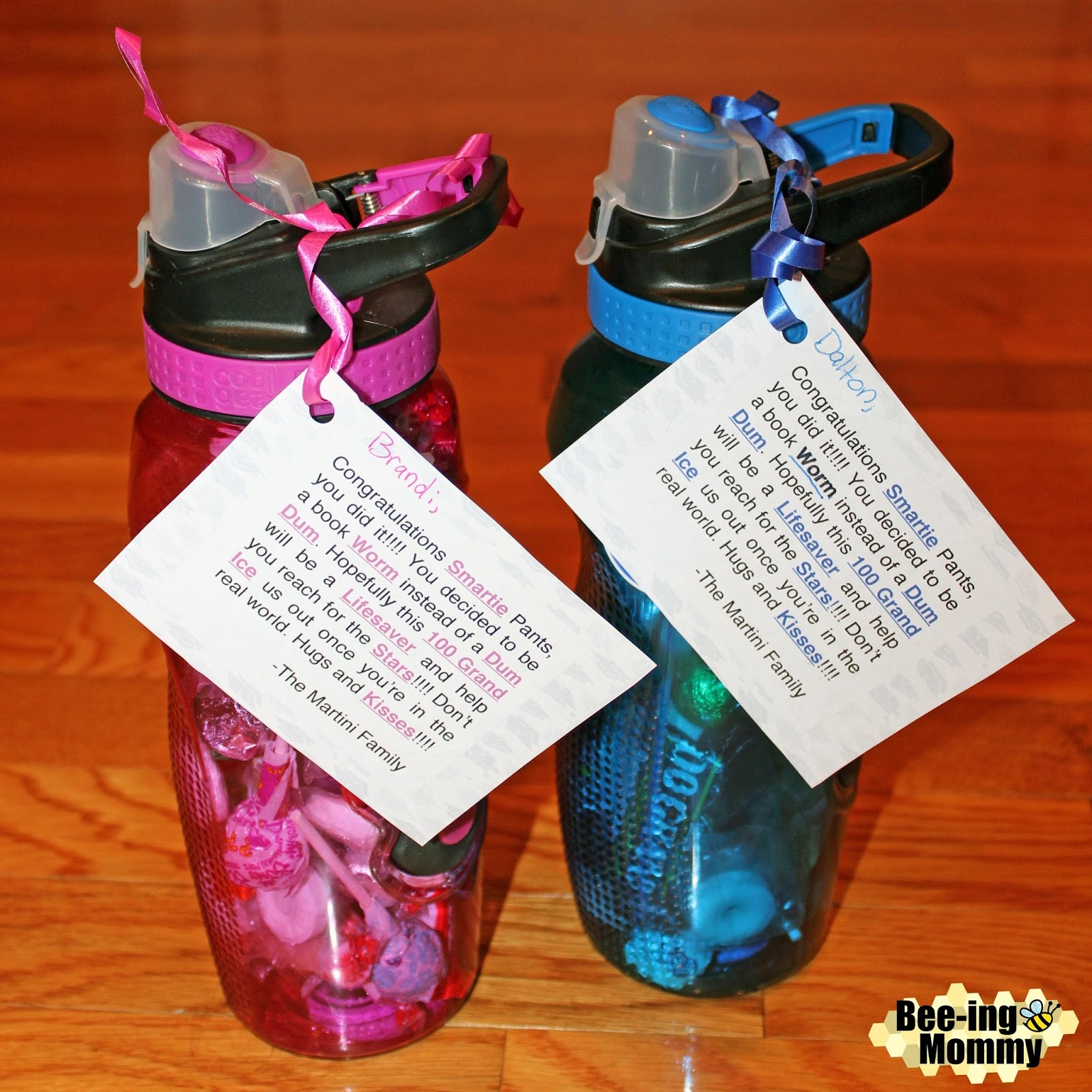 bee ing mommy blog graduation candy saying water bottle gift