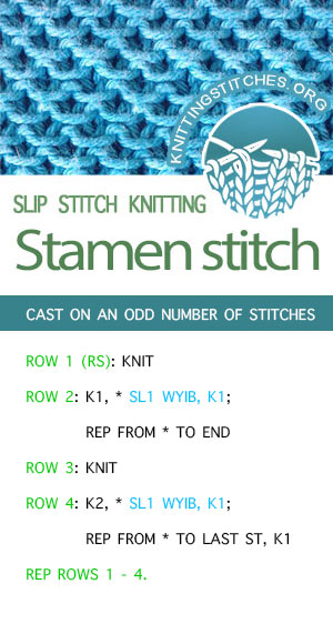 #KnittingStitches -- Stamen Stitch Pattern, FREE written instructions. Amazing stitch for dishcloths.