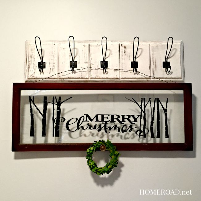 Merry Christmas Decorative Window hanging on wall with hooks