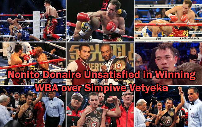 Nonito Donaire Unsatisfied in Winning WBA over Simpiwe Vetyeka