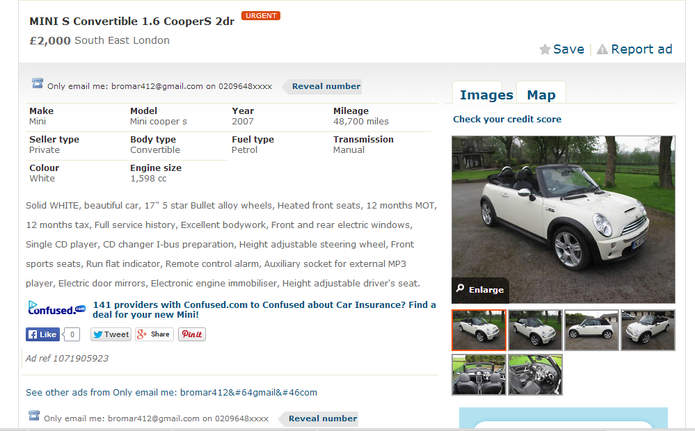 SCAM listing +++ 2007 Mini Cooper S Convertible – £2000