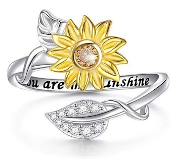 50% off  Sterling Silver You are My Sunshine Sunflower CZ Heart Ring