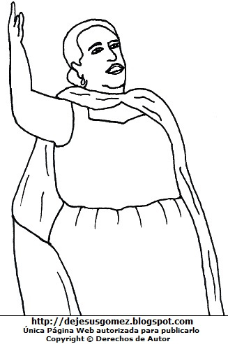 Dibujo de Rosa Merino cantando para colorear o pintar e imprimir. Imagen de Rosa Merino de Jesus Gómez