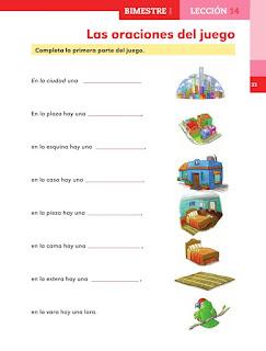 Apoyo Primaria Español 1er grado lección 14 Las oraciones del juego