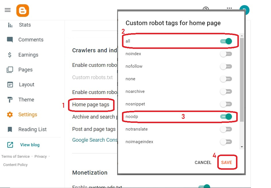 Enable Custom robot tags for home page