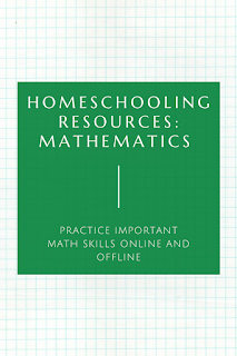 text: Homeschooling Resources: Mathematics; Practice important math skills online & offline; background image of graph paper