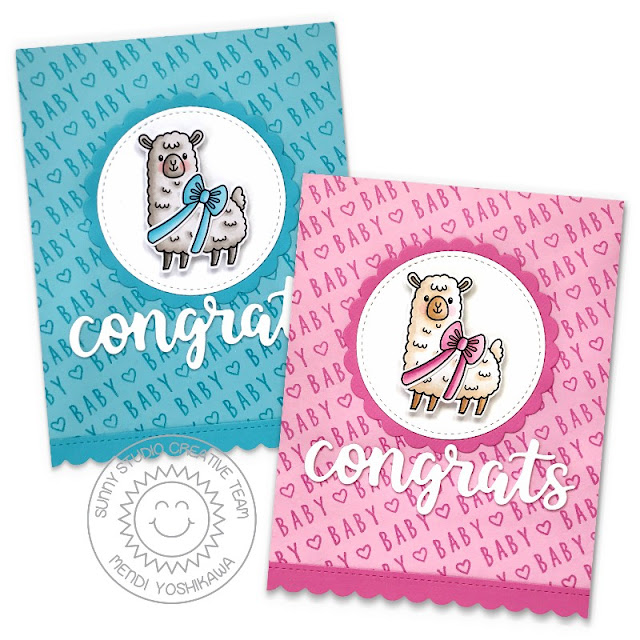 Sunny Studio Stamps: Pink & Blue Congrats Baby Boy & Girl Cards (using Lovable Llama, Kinsley Alphabet, Scalloped Circle Mat 1 Dies, Stitched Circle Small Dies & Slimline Scalloped Frame Dies)
