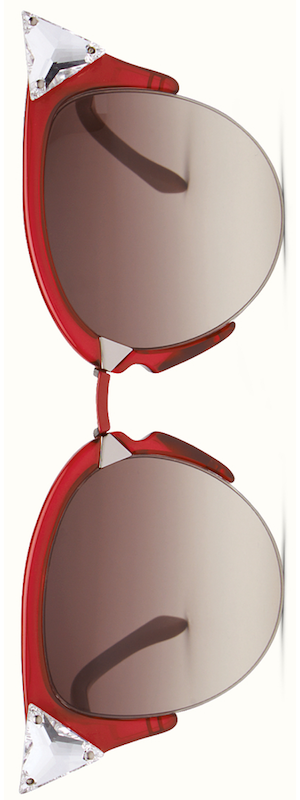 Fendi Iridia Cat-Eye Crystal-Tip Sunglasses, Red