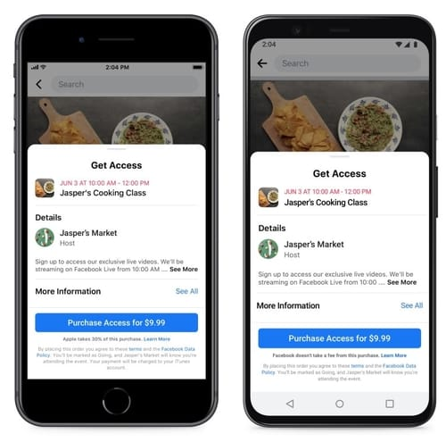 Facebook officially supports the setting of paid events online
