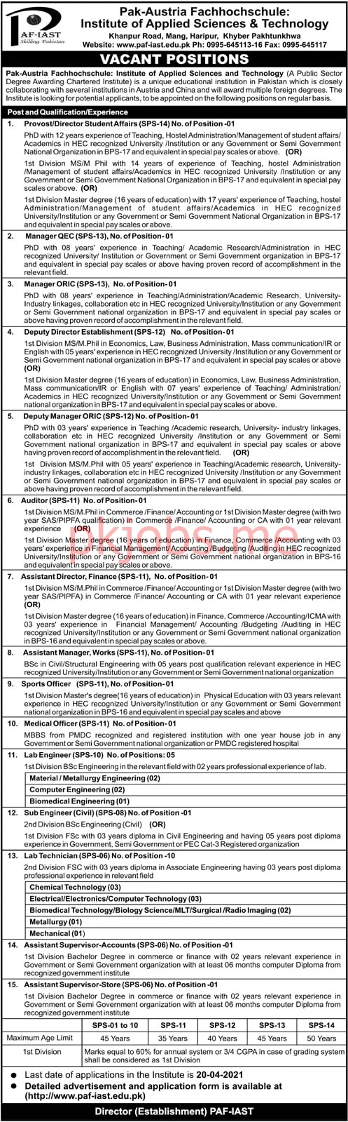 Latest PAF Institute of Applied Sciences & Technology Management Posts 2021