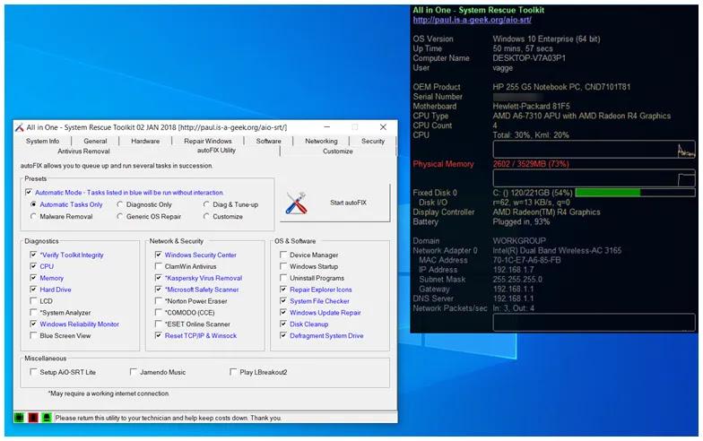 All In One – System Rescue Toolkit : Δωρεάν λογισμικό διάγνωσης και επισκευής των Windows