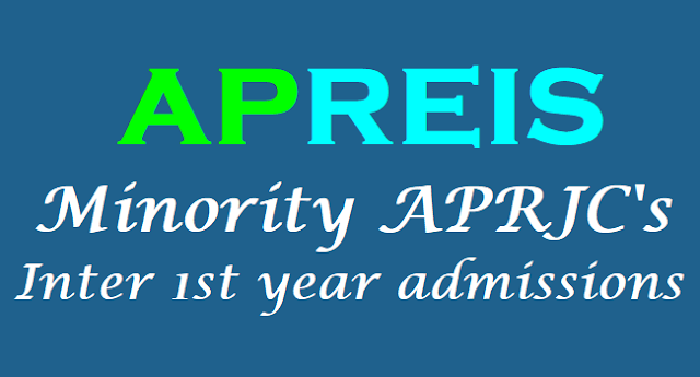 APreis Minority APRJCs,Inter 1st year admissions,Apply at aprs.cgg.gov.in