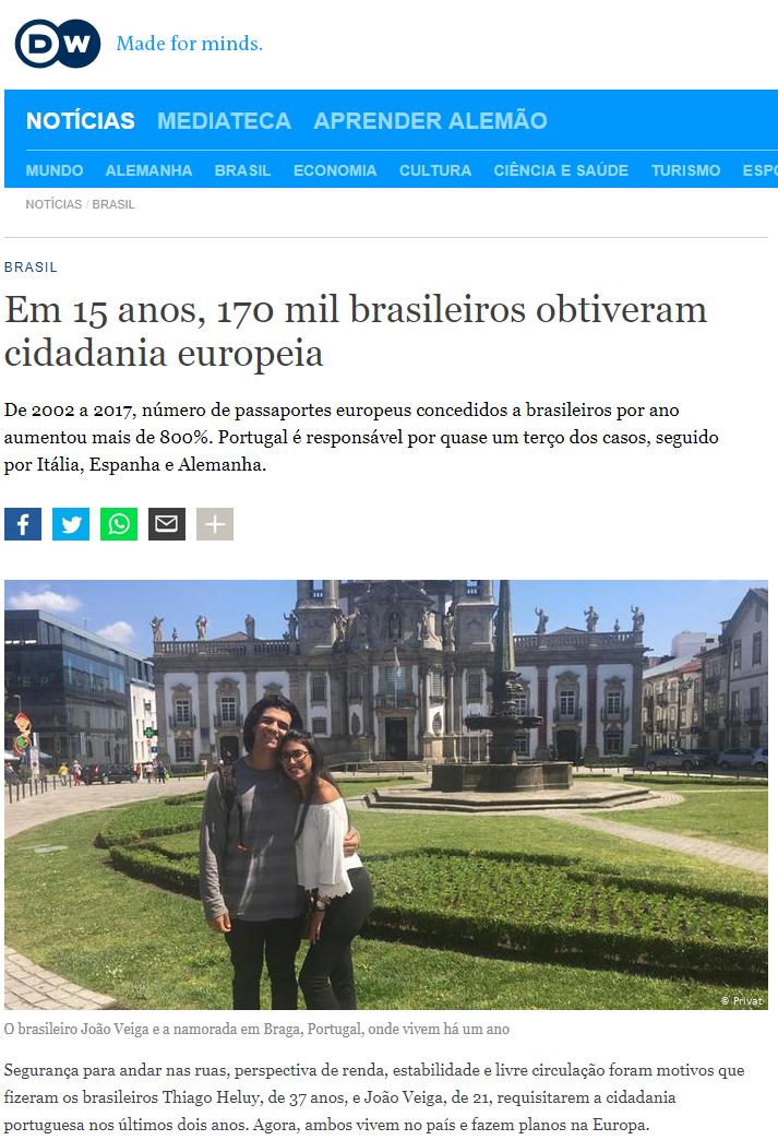 brasileiros em Portugal Itália Alemanha e Espanha matéria da Deutsche Welle Cristian Edel Weiss jornalismo de dados Alemanha cidadania europeia e dupla cidadania