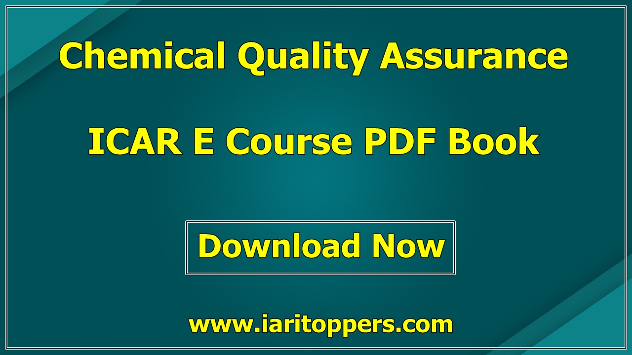 Chemical Quality Assurance ICAR e course PDF Book Download E Krishi Shiksha
