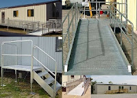 Aluminum and steel Handicap Access ramps for mobile modular buildings, churches.