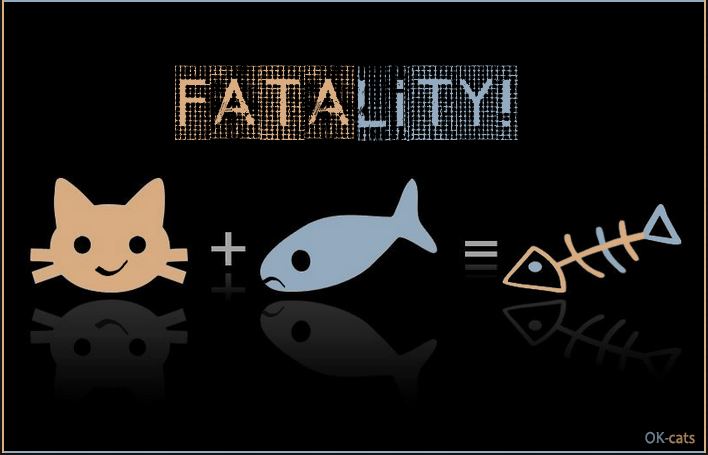 Photoshopped Cat picture • FATALITY • At first, a hungry cat + a fresh fish, but then, just a fish bone!