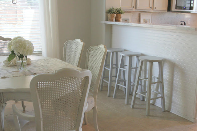 French Country shabby chic style dining room and breakfast bar by Hello Lovely Studio