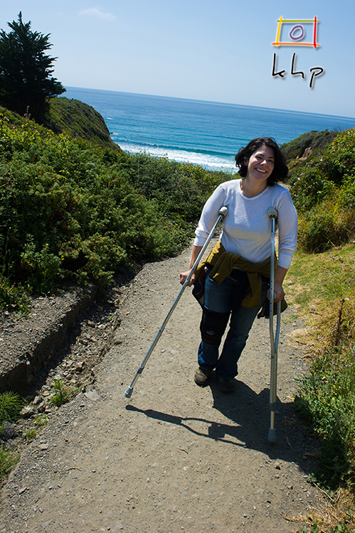 Despite being injured from her knee during a hike just the day before, Jennifer is still out and about on crutches.