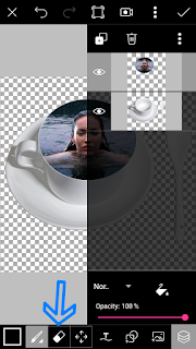 Edit foto berenang dalam gelas