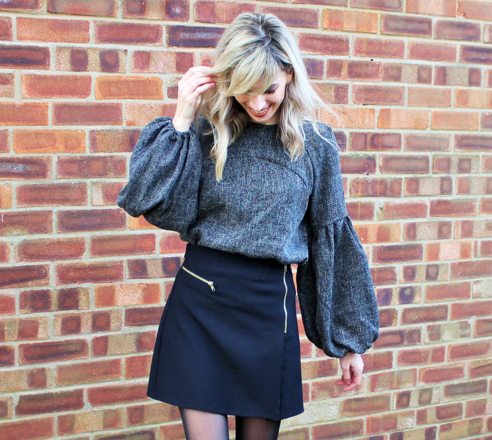 OOTD featuring Shein balloon sleeve top, Topshop A-line Skirt and Zara Ankle Boots - 3