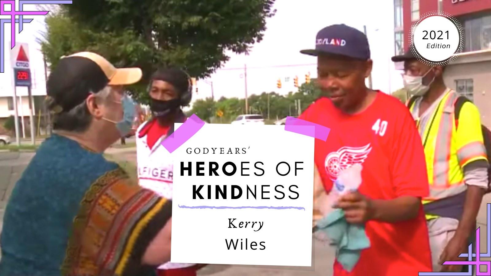 woman giving food to homeless
