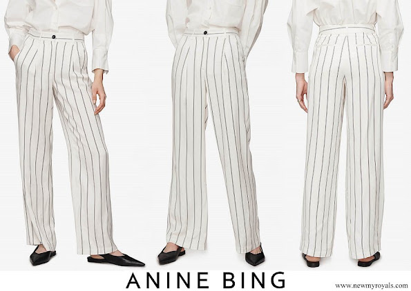 Meghan Markle wore Anine Bing Ryan black and white striped trousers
