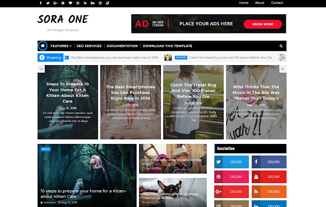 Sora One Responsive Magazine News Sites Personal Blog Blogger Template Theme