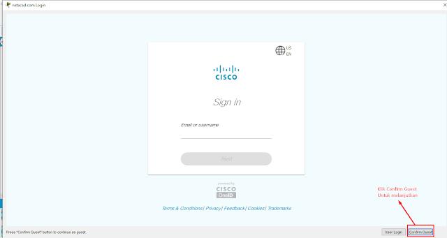 Halaman Confirm Guest Cisco Packet Tracer