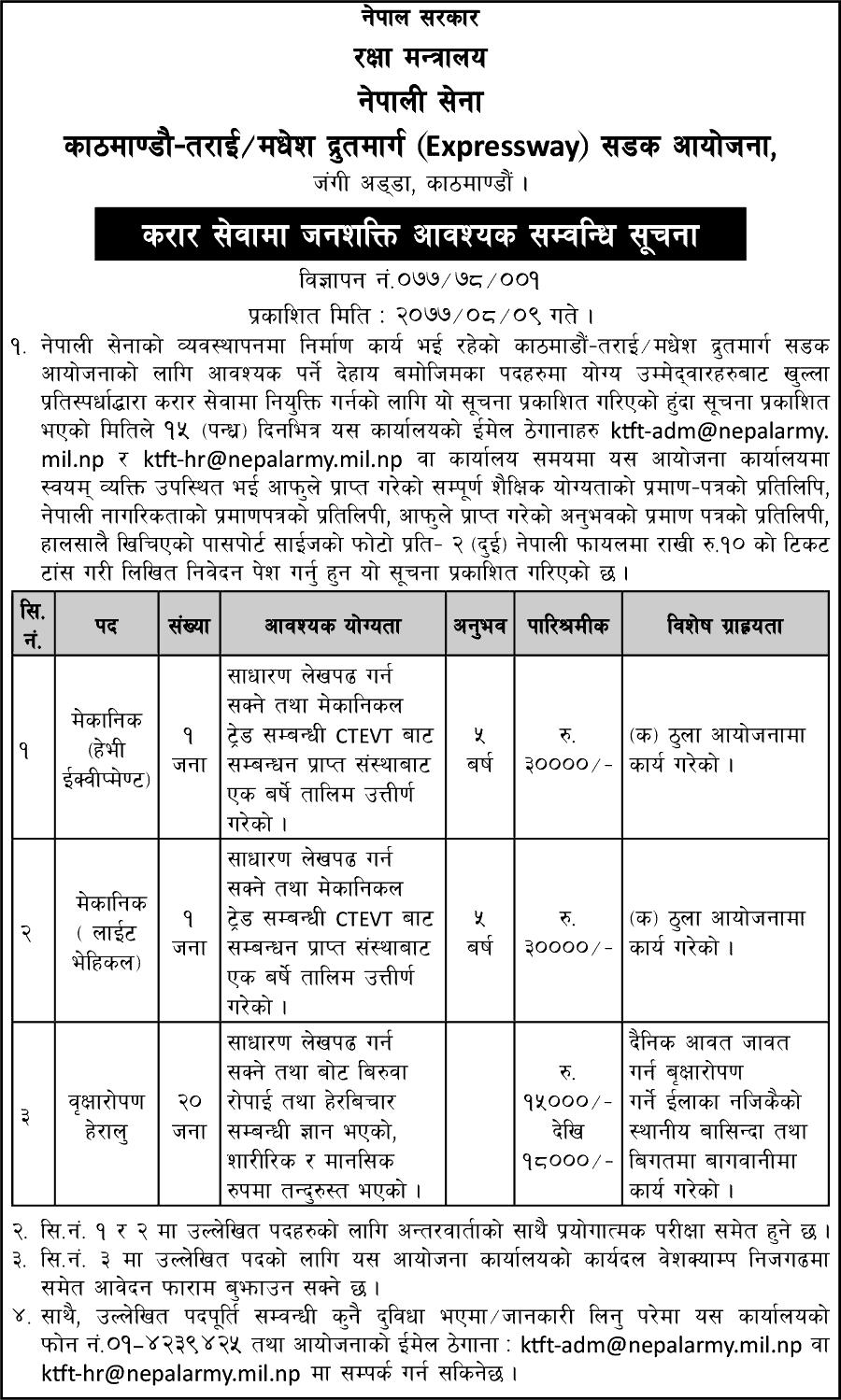 Kathmandu-Terai / Madhesh Expressway Road Project Vacancy