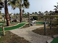 one hole at a mini-golf course with palm trees and a pirate cannon