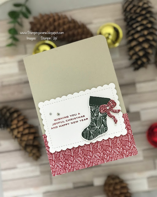 christmas stocking card using stampin up tidings and trimmings