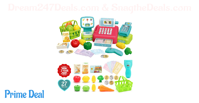 45% OFF Cash Register Toy for Kids with Fruits, Vegetables, Shopping Basket, Credit Card, Play Money & Grocery Store Toys