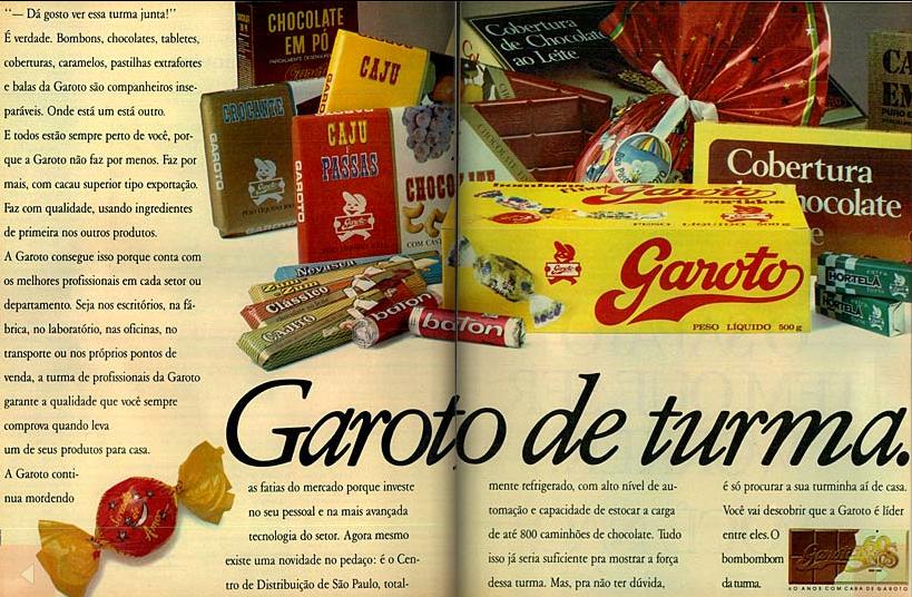 Propaganda do Chocolates Garoto apresentando sua linha de produtos em 1989