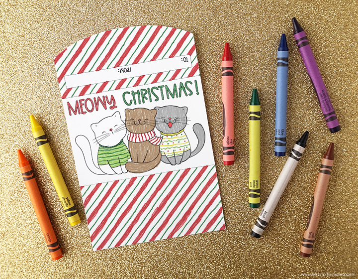 Colored Gift Card Holder with Crayons